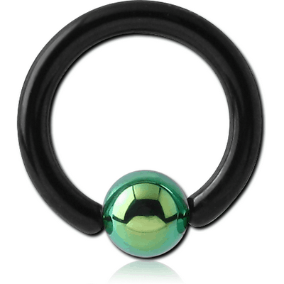 BLACK PVD COATED TITANIUM BALL CLOSURE RING WITH BALL