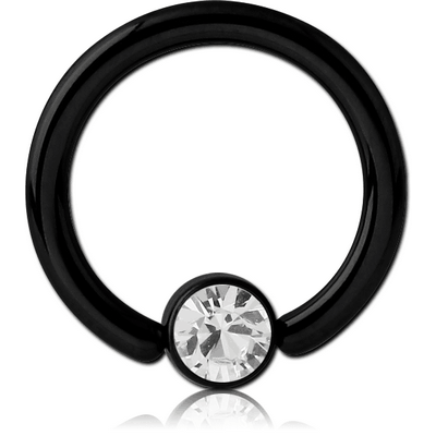 BLACK PVD COATED TITANIUM BALL CLOSURE RING WITH JEWELLED DISC