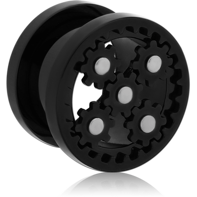BLACK PVD COATED STAINLESS STEEL THREADED GEAR TUNNEL