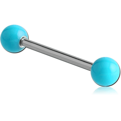 SURGICAL STEEL BARBELL WITH ENAMEL COATED STEEL BALL