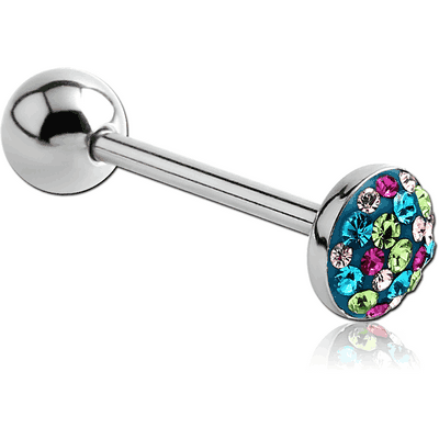 SURGICAL STEEL CRYSTALINE JEWELLED FLAT BARBELL