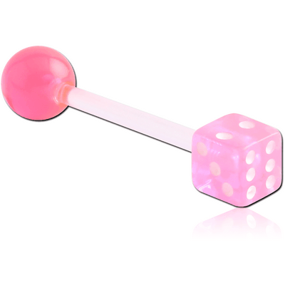 UV ACRYLIC FLEXIBLE BARBELL WITH BALL AND DICE