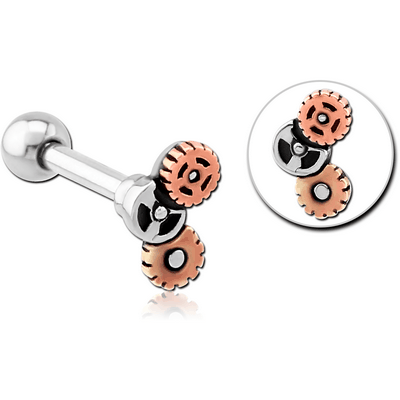 SURGICAL STEEL BARBELL - STEAMPUNK
