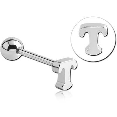 SURGICAL STEEL BARBELL WITH LETTER - T