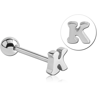 SURGICAL STEEL BARBELL WITH LETTER - K