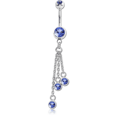 SURGICAL STEEL DOUBLE JEWELLED NAVEL BANANA WITH CHARM
