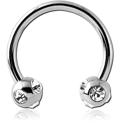 SURGICAL STEEL CIRCULAR BARBELL WITH MULTI JEWELED BALLS