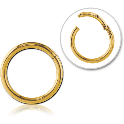 GOLD PVD COATED SURGICAL STEEL HINGED SEGMENT RING