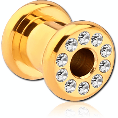 GOLD PVD COATED STAINLESS STEEL JEWELLED ROUND TUNNEL (12 STONES PP9) EMPTY PART