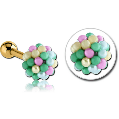 GOLD PVD COATED SURGICAL STEEL JEWELLED TRAGUS