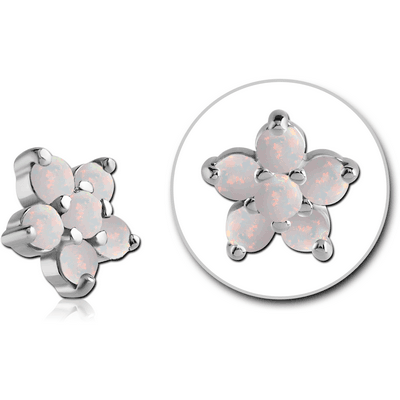 SURGICAL STEEL SYNTHETIC OPAL JEWELED FLOWER ATTACHMENT FOR 1.6MM INTERNALLY THREADED PINS