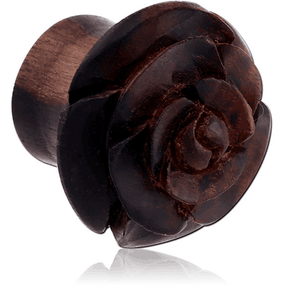 IRON WOOD CARVED FLOWER DOUBLE FLARED PLUG