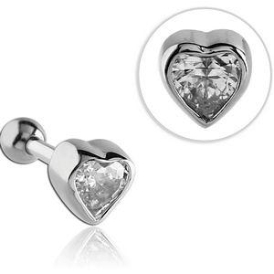 SURGICAL STEEL JEWELED HEART TRAGUS BARBELL
