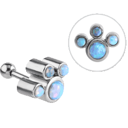 SURGICAL STEEL OPAL JEWELEDTRAGUS BARBELL