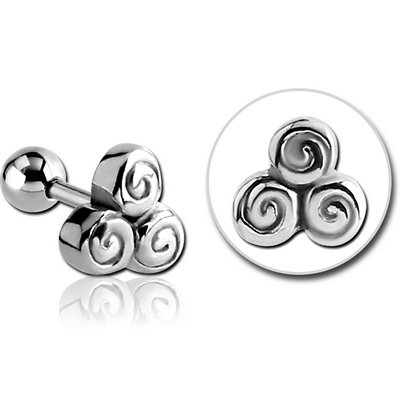 SURGICAL STEEL TRAGUS MICRO BARBELL - TRINITY