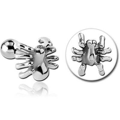 SURGICAL STEEL TRAGUS MICRO BARBELL - SPIDER