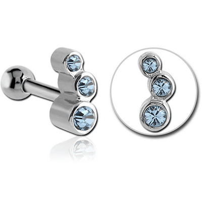 SURGICAL STEEL TRIPLE JEWELLED TRAGUS MICRO BARBELL