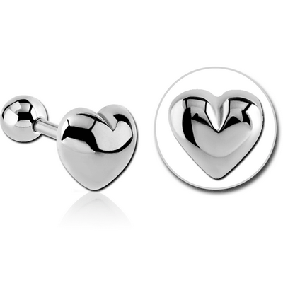 SURGICAL STEEL TRAGUS MICRO BARBELL - HEART