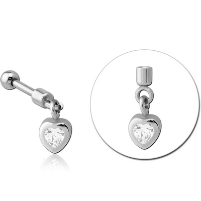 SURGICAL STEEL HELIX MICRO BARBELL WITH JEWELLED CHARM - HEART