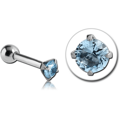 SURGICAL STEEL ROUND PRONG SET JEWELLED TRAGUS MICRO BARBELL