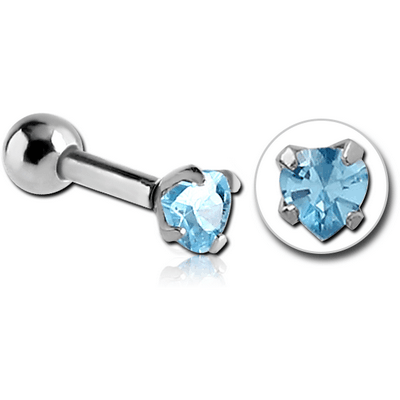 SURGICAL STEEL HEART PRONG SET JEWELLED TRAGUS MICRO BARBELL