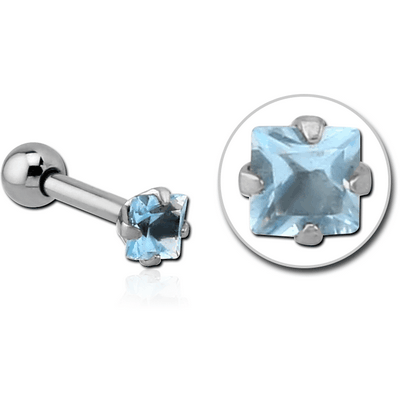 SURGICAL STEEL SQUARE PRONG SET JEWELLED TRAGUS MICRO BARBELL