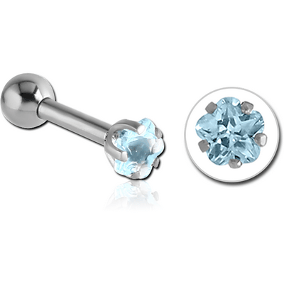 SURGICAL STEEL FLOWER PRONG SET JEWELLED TRAGUS MICRO BARBELL