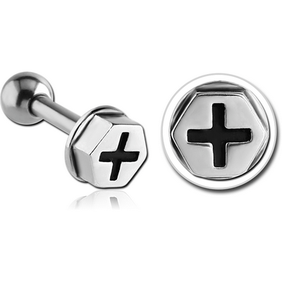 SURGICAL STEEL TRAGUS MICRO BARBELL - NUT HEAD