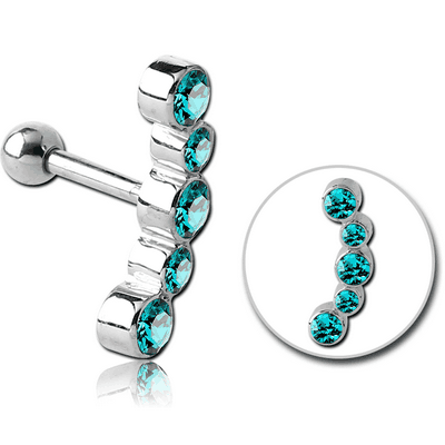 SURGICAL STEEL 5 JEWELS TRAGUS MICRO BARBELL