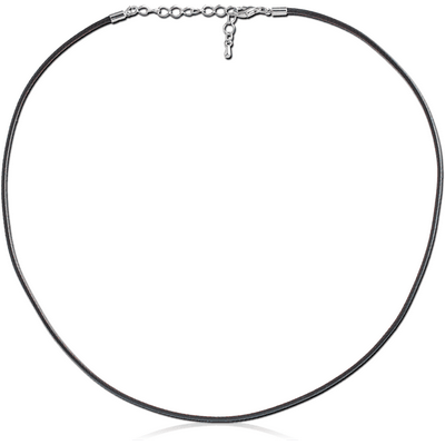 WAX COTTON CORD NECKLACE WITH STAINLESS STEEL LOCKER AND EXTENSION CHAIN