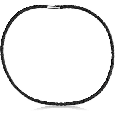 WEAVED IMITATION LEATHER NECKLACE WITH LOCKER AND EXTENSION CHAIN