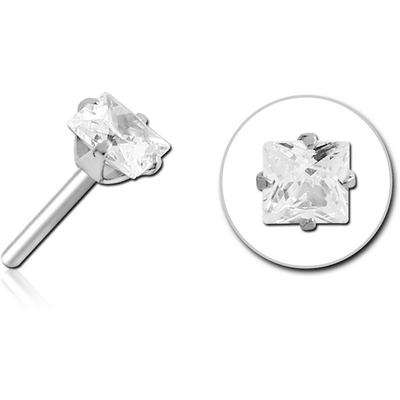 SURGICAL STEEL JEWELLED THREADLESS ATTACHMENT - SQUARE
