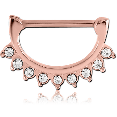ROSE GOLD PVD COATED SURGICAL STEEL JEWELLED NIPPLE CLICKER