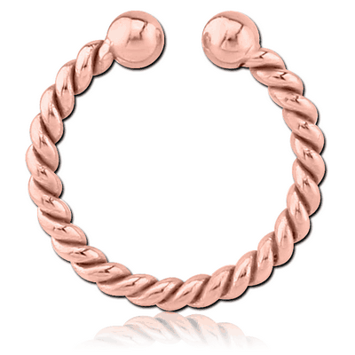 ROSE GOLD PVD COATED SURGICAL STEEL FAKE SEPTUM RING - ROPE