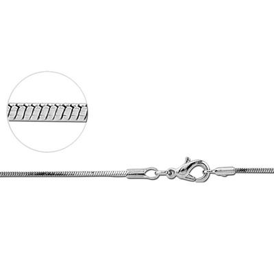 NICKEL FREE RHODIUM PLATED BRASS SEAMED SNAKE CHAIN NECKLACE WITH LOBSTER LOCK 40CMS WIDTH*1MM