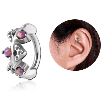 SURGICAL STEEL SYNTHETIC OPAL ROOK CLICKER - FILIGREE
