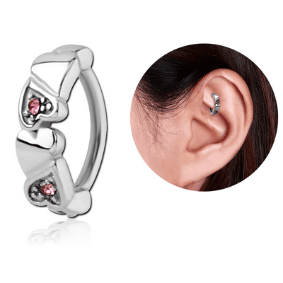 SURGICAL STEEL JEWELLED ROOK CLICKER - HEART