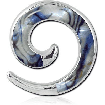 SURGICAL STEEL SYNTHETIC MOTHER OF PEARL EAR SPIRAL