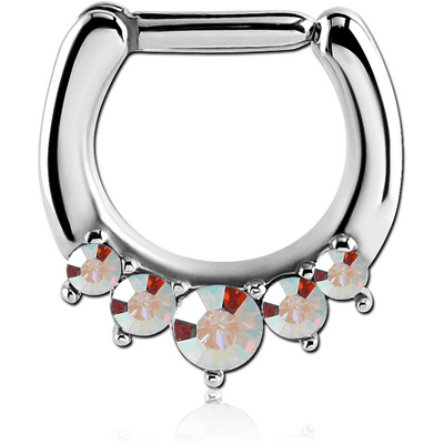SURGICAL STEEL ROUND SWAROVSKI CRYSTALS JEWELLED HINGED SEPTUM CLICKER