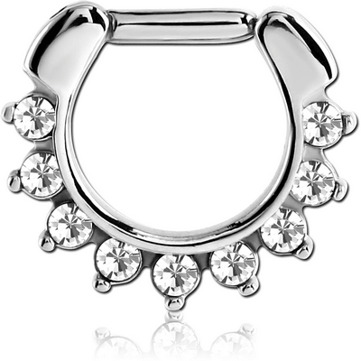 SURGICAL STEEL ROUND VALUE JEWELED HINGED SEPTUM CLICKER RING