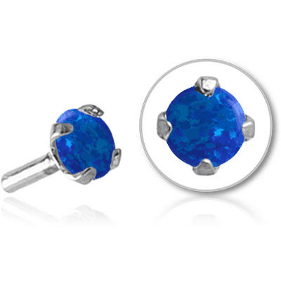 SURGICAL STEEL SYNTHETIC OPAL JEWELED ATTACHMENT FOR BIOFLEX INTERNAL LABRET