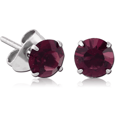 SURGICAL STEEL ROUND PRONG SET jewelled EAR STUDS PAIR