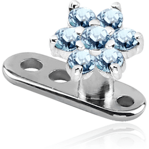 TITANIUM INTERNALLY THREADED DERMAL ANCHOR WITH SURGICAL STEEL JEWELED FLOWER ATTACHMENT