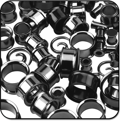 VALUE PACK OF MIX BLACKLINE SURGICAL STEEL TUNNELS EAR SPIRALS