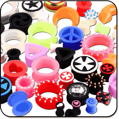 VALUE PACK OF MIX SILICONE TUNNELS PLUGS EXPANDERS AND CIRCULARS