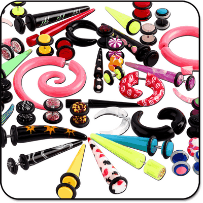VALUE PACK OF MIX UV ACRYLIC FAKE PLUGS EXPANDERS SPRIALS AND CLAWS
