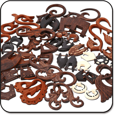 VALUE PACK OF MIX ORGANIC COCONUT SHELL BONE HORN AND WOOD TRIBAL EARRINGS