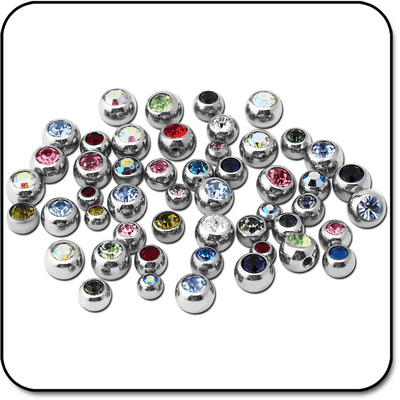 VALUE PACK OF MIX SURGICAL STEEL JEWELED BALLS FOR 1.6MM