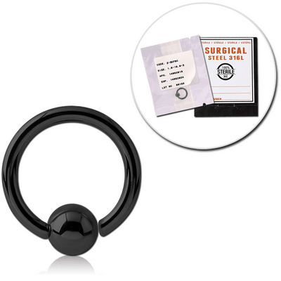 STERILE BLACK PVD SURGICAL STEEL FIXED BEAD RING