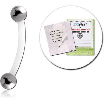 STERILE BIOFLEX CURVED BARBELL WITH STEEL BALLS